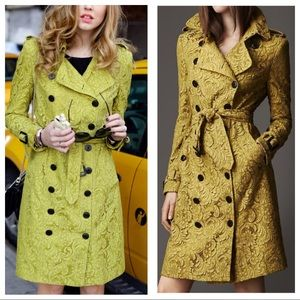 Burberry floral lace mustard yellow trench coat